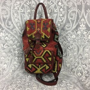 Vintage Boho Wool Kilim Tapestry Leather Backpack